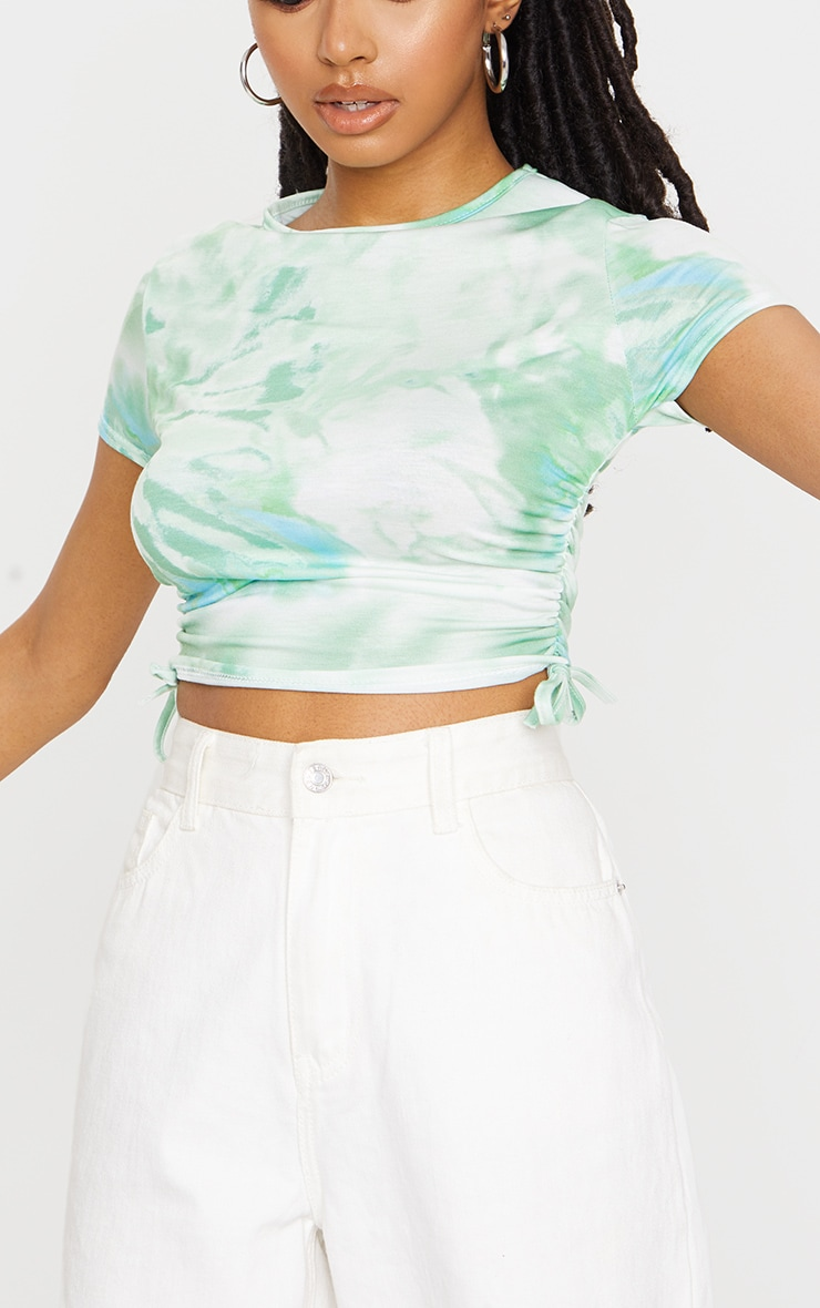 Green Printed Tie Dye Ruched Sleeve Crop Top 4