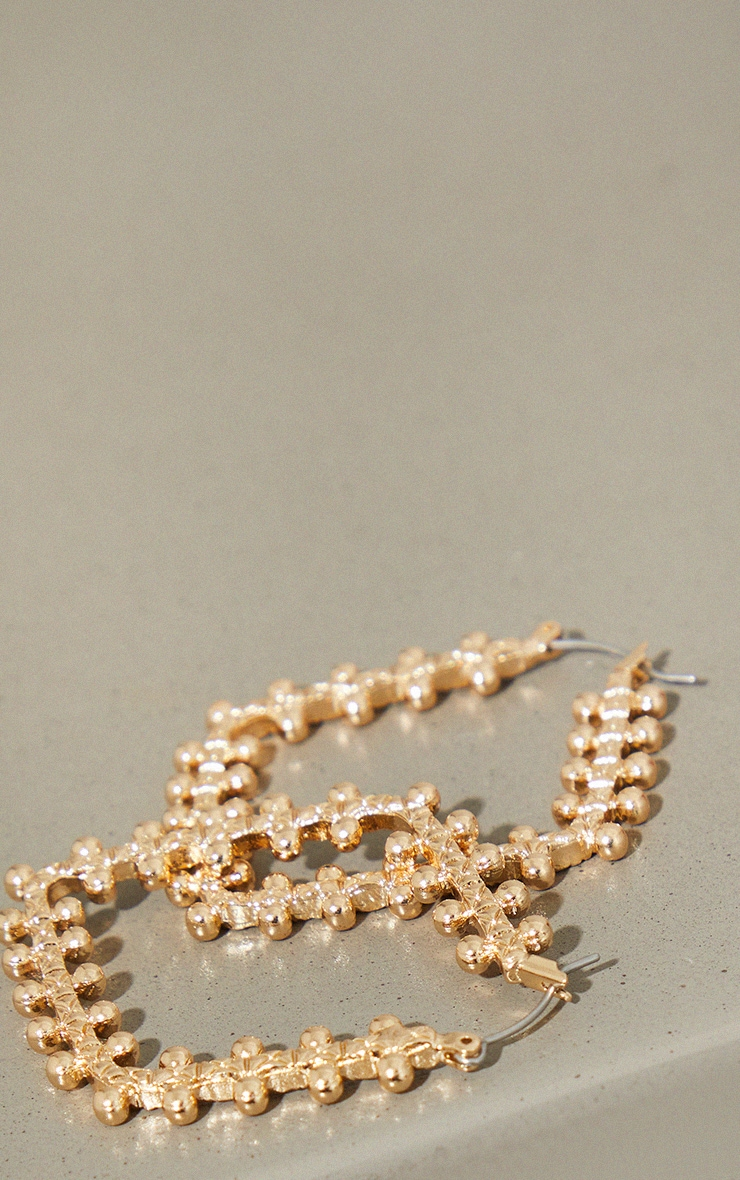 Gold Beaded Triangular Hoop Earrings 3
