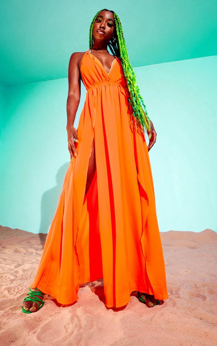 Orange Ring Detail Maxi Dress 2