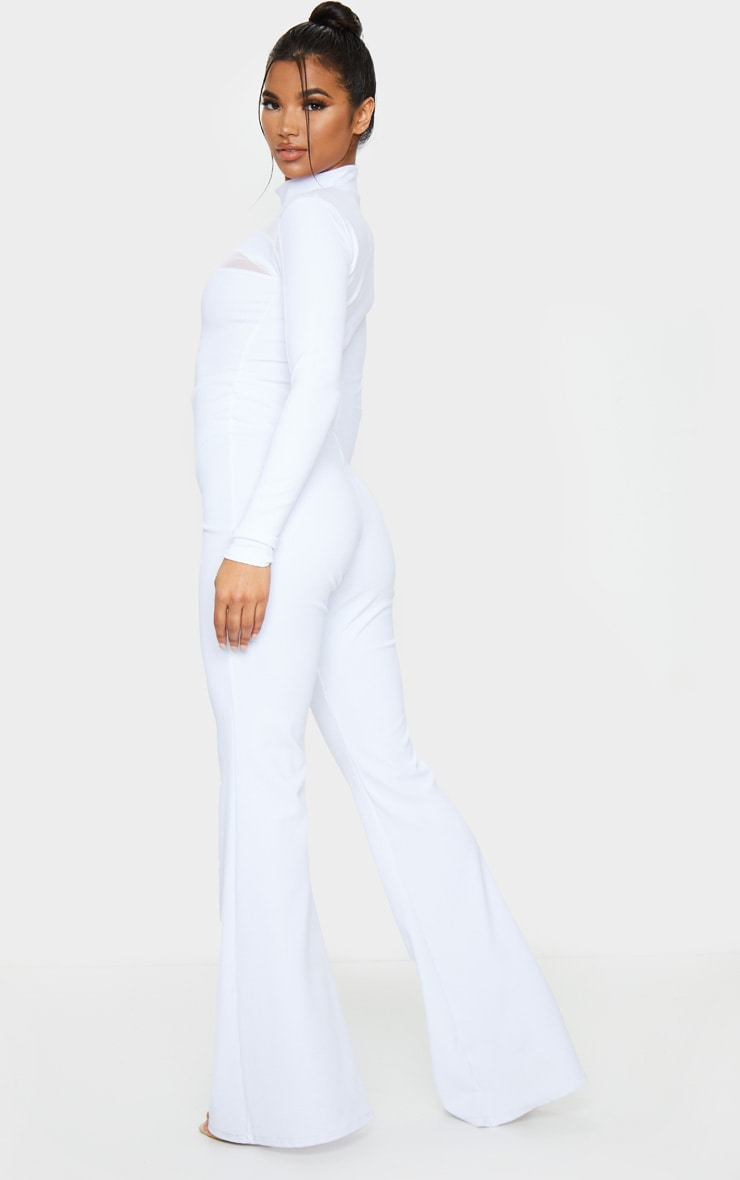 White High Neck Mesh Insert Long Sleeve Jumpsuit 2