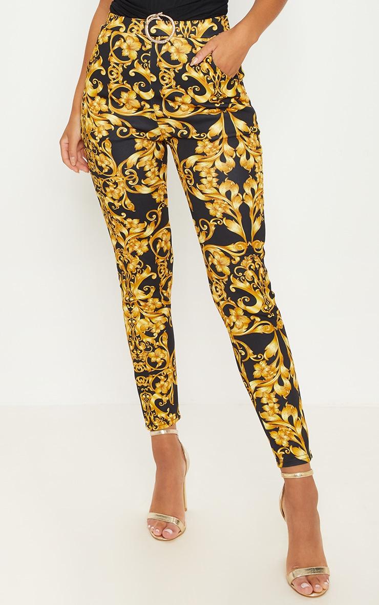 Gold Snake Trim Printed Skinny Trouser 2