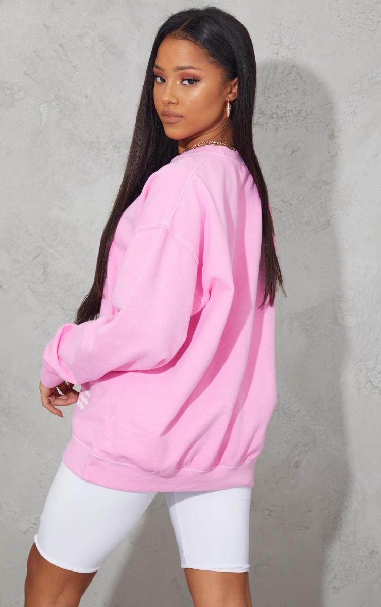 Pink Los Angeles Small Print Slogan Washed Sweatshirt 2