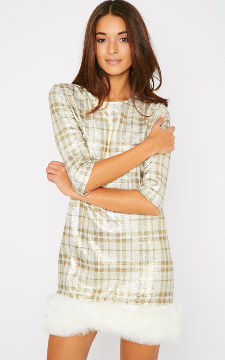 Kyla Gold Checked Fur Trim Dress 1