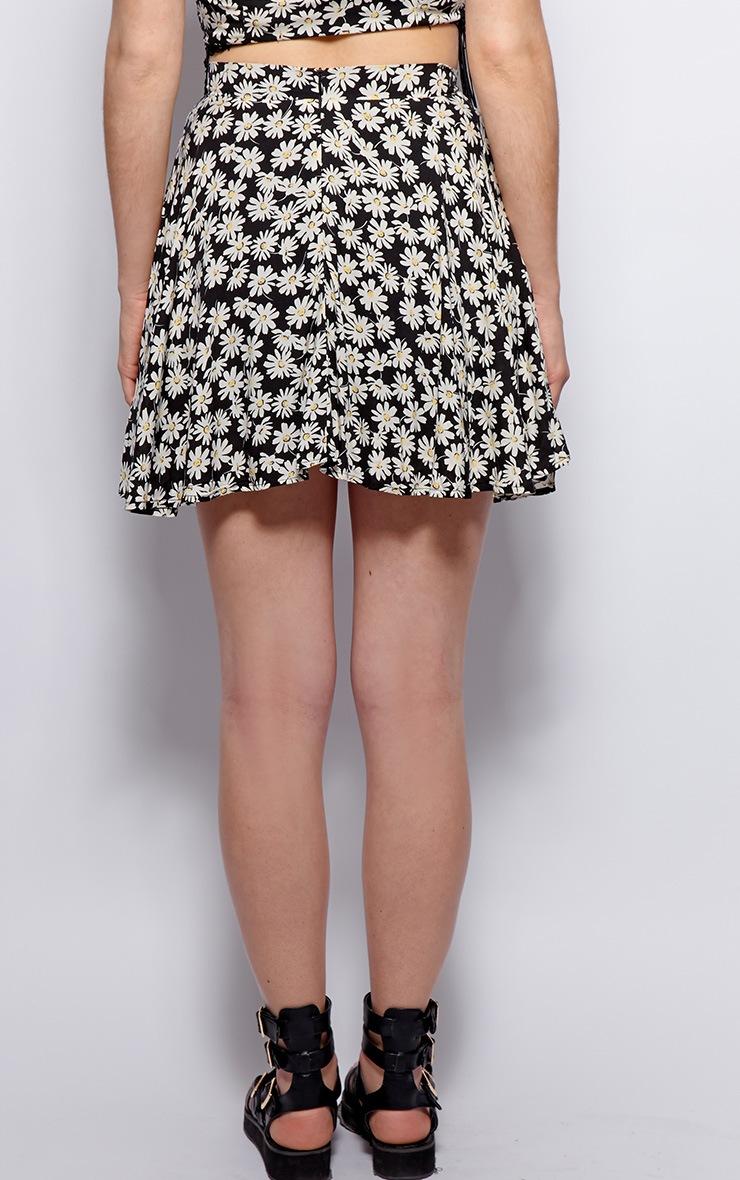 Kara Black Daisy Print Skirt 2