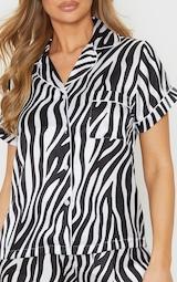 Zebra Button Up Short Satin PJ Set 5