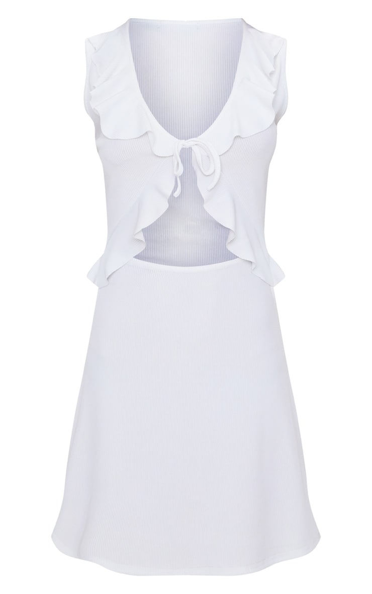White Ribbed Frill Tie Detail Skater Dress 3