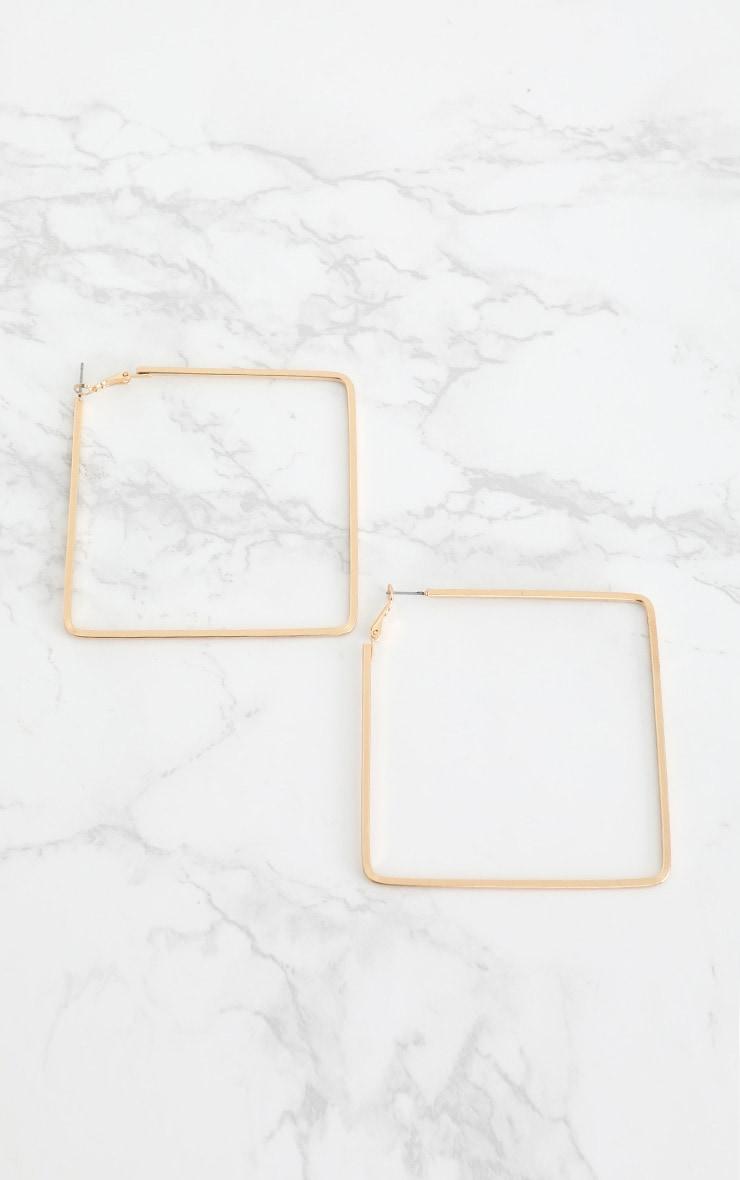Gold Large Square Hoop Earrings 3