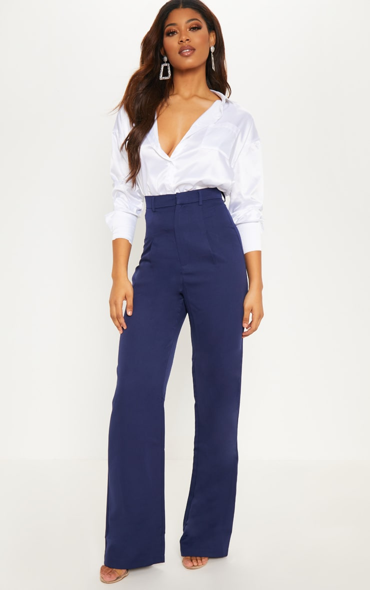Tall Navy High Waist Wide Leg Trousers 1