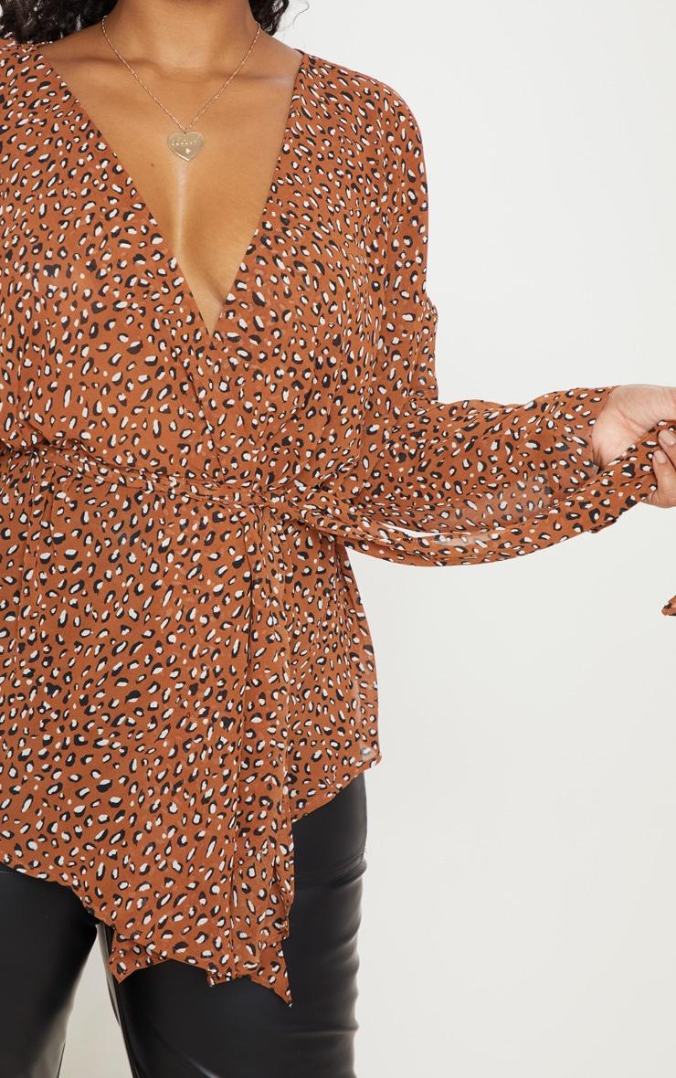 Plus Nude Leopard Print Woven Tie Waist Blouse 5