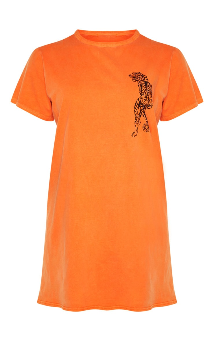 Orange Tiger Printed T Shirt Dress 3