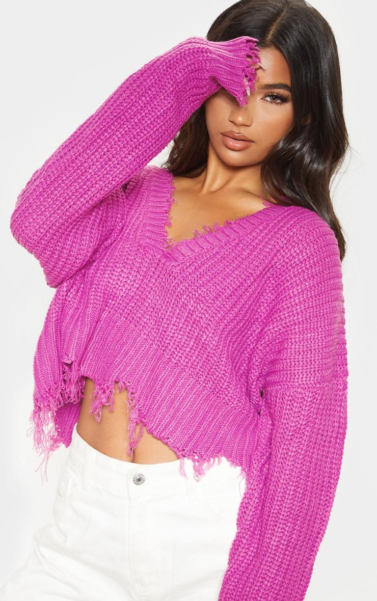 Violet Fringe Hem Knitted Jumper  5