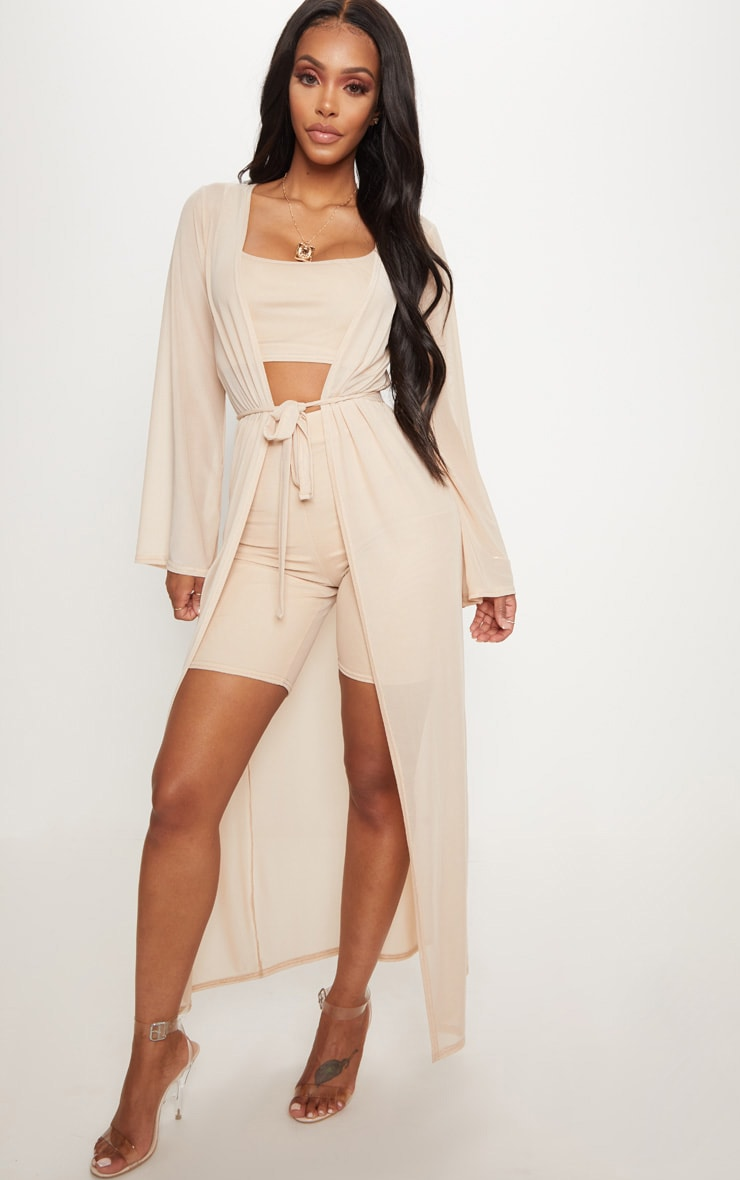 Shape Nude Sheer Mesh Maxi Duster Jacket 1