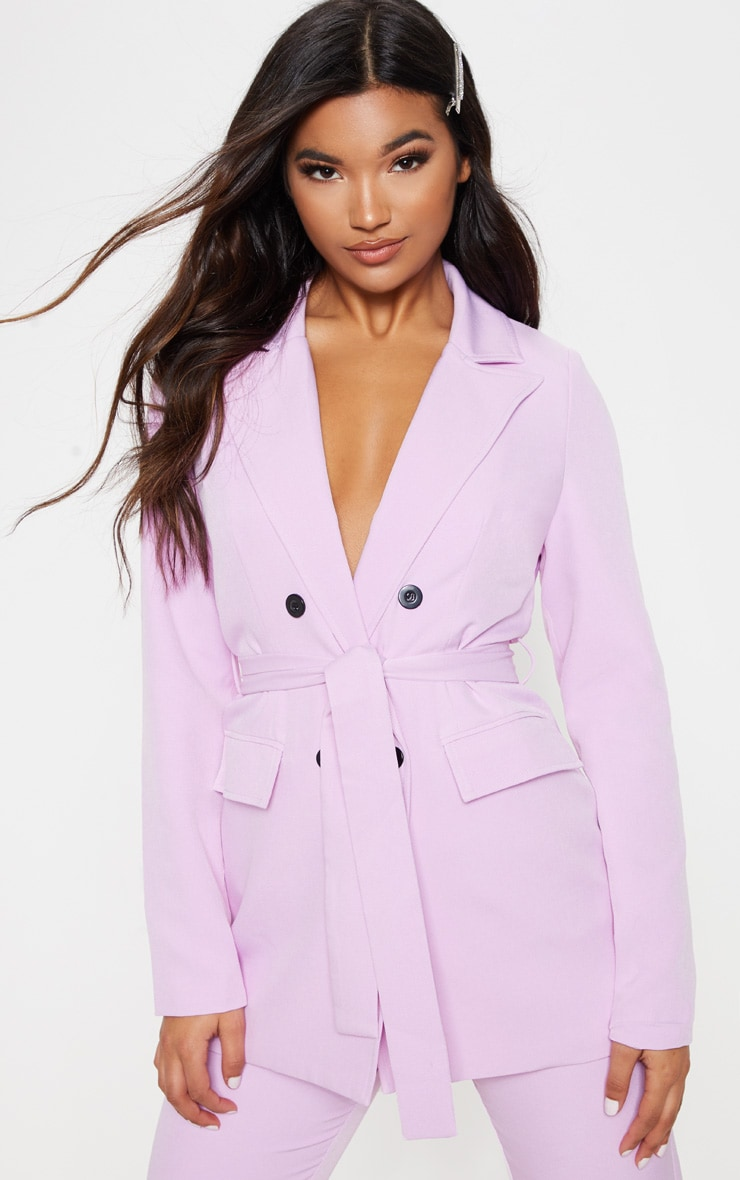 Lilac Belted Long Line Woven Blazer 1