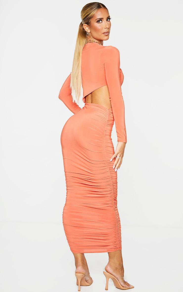 Orange Slinky Keyhole Cut Out Ruched Midi Dress 2