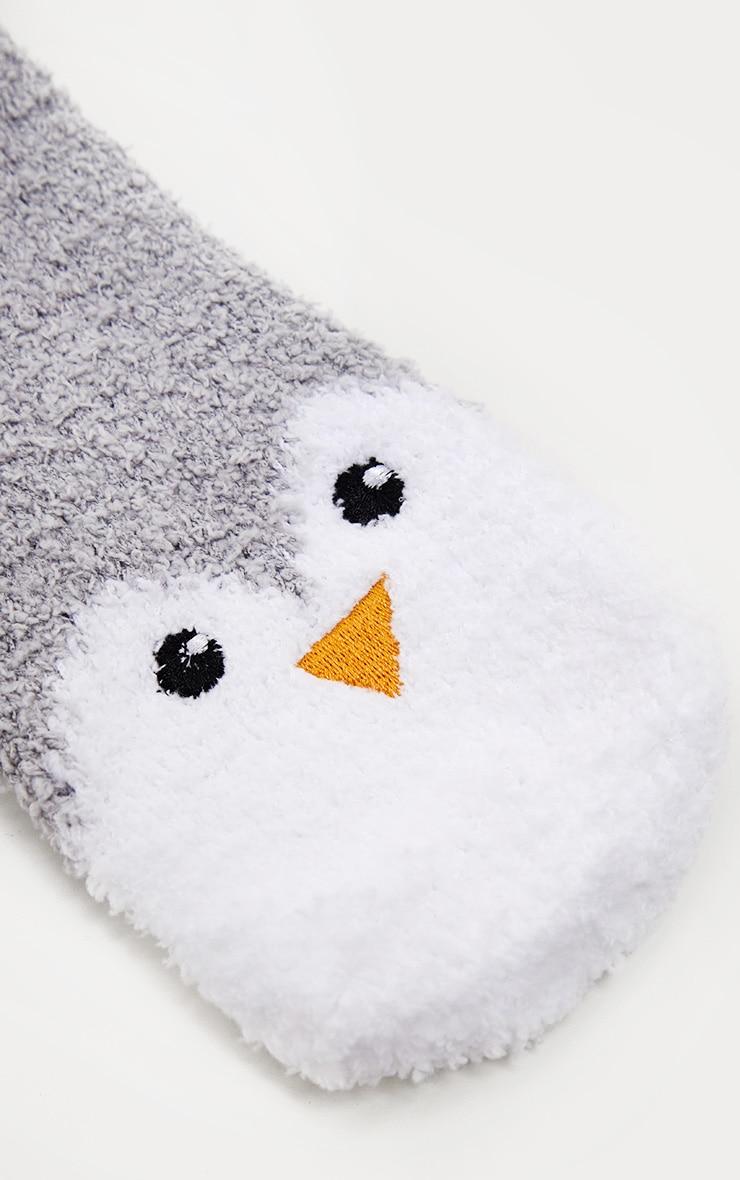 Grey Penguin Fluffy Socks 3