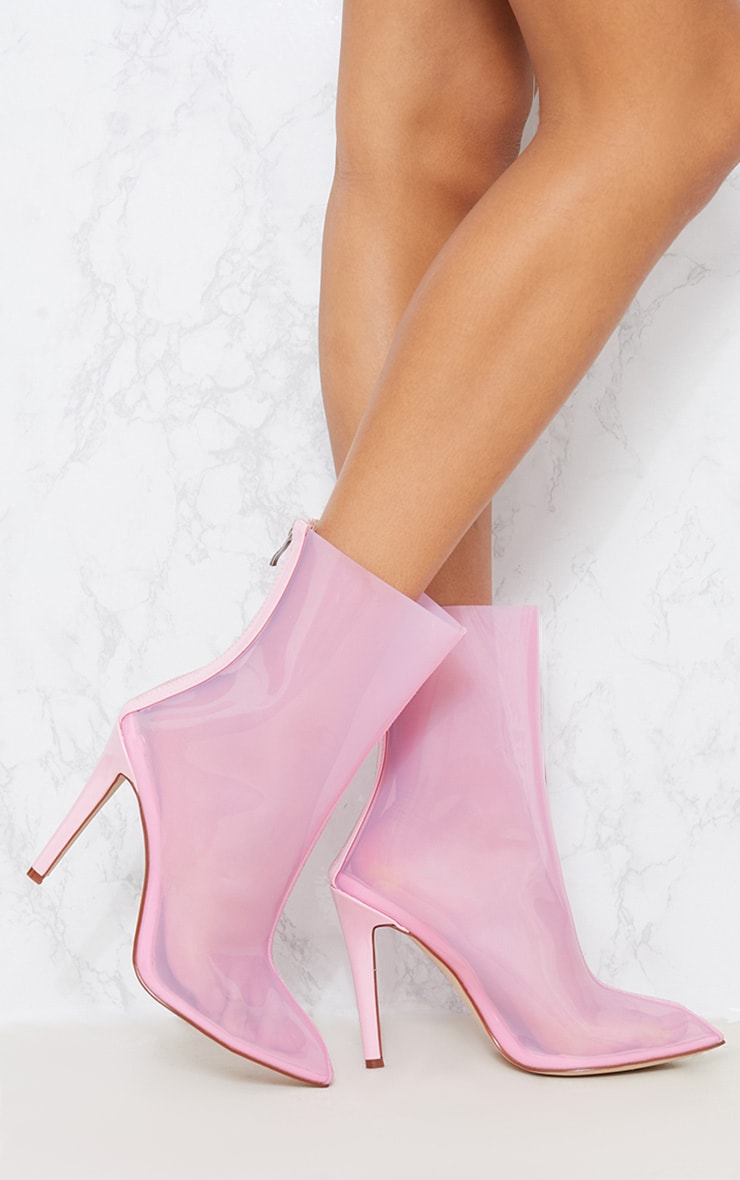 Pink Vinyl Pointed Zip Back Ankle Boot 2