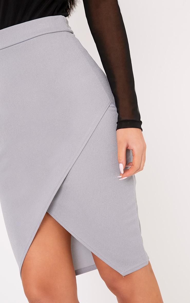 Aislynn Grey Wrap Midi Skirt 5