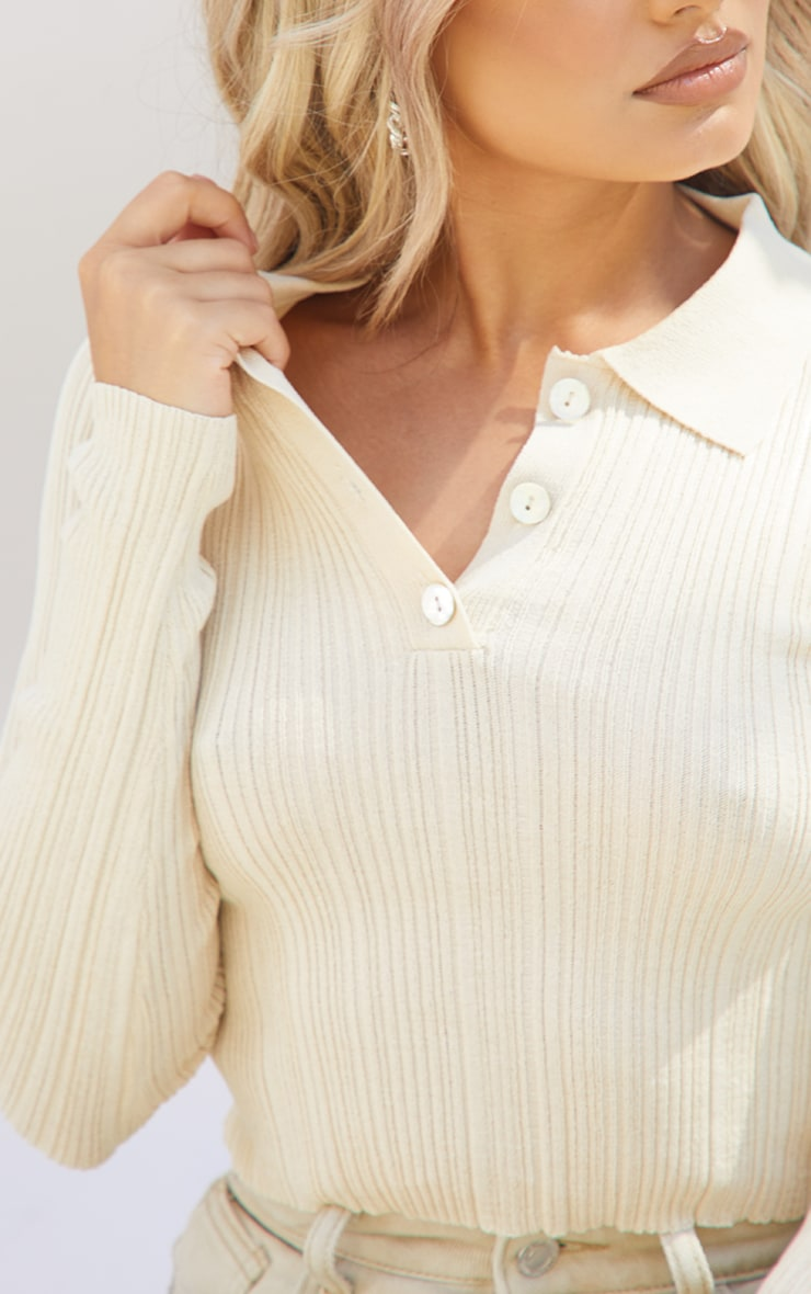 Petite Stone Sheer Knit Button Up Collared Top 4
