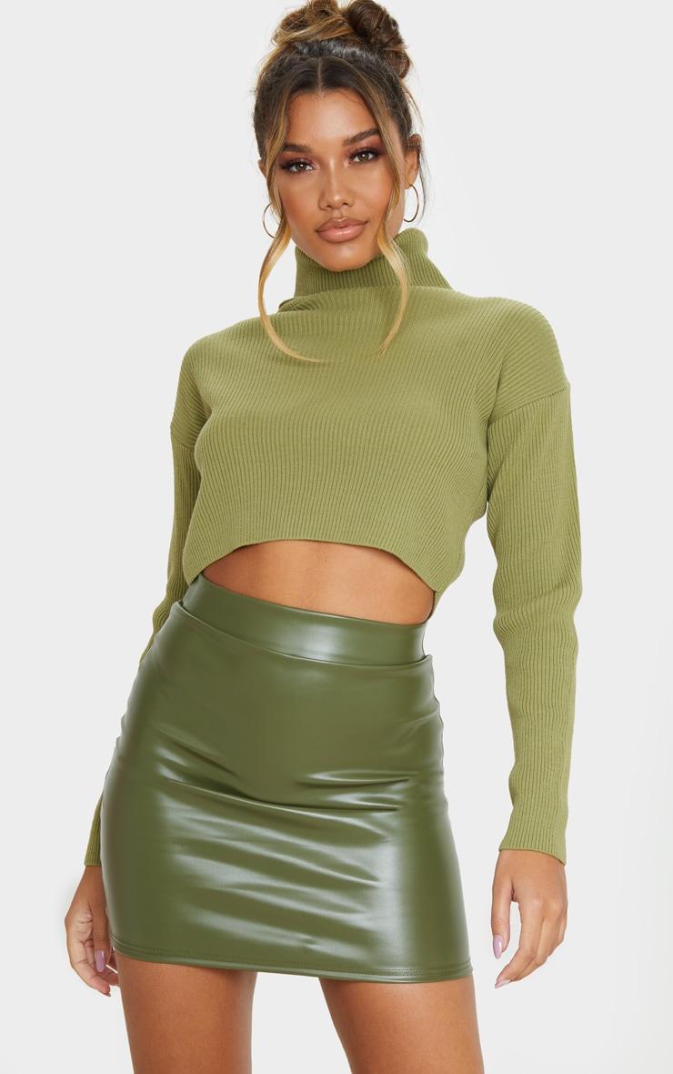Khaki Basic Faux Leather Mini Skirt 1