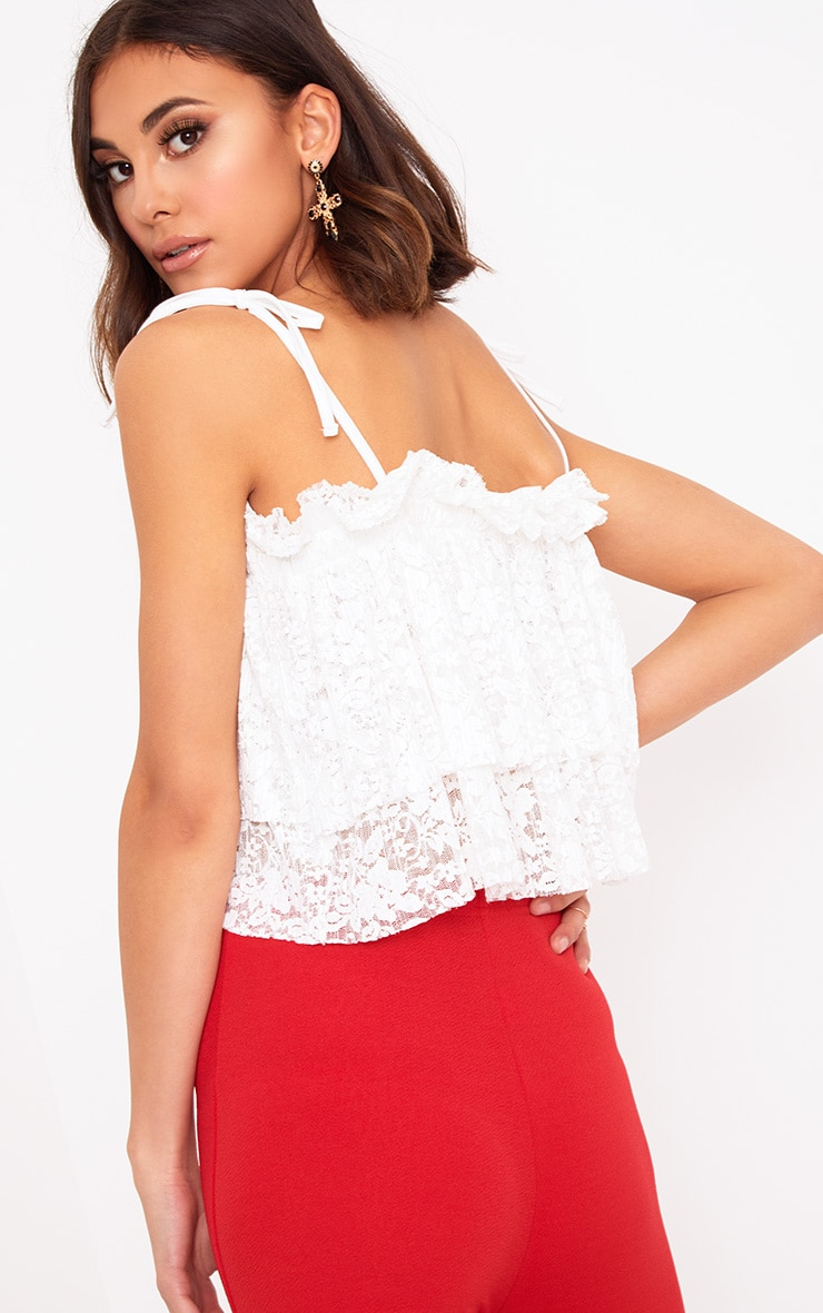 White Lace Frill Cami Top  2