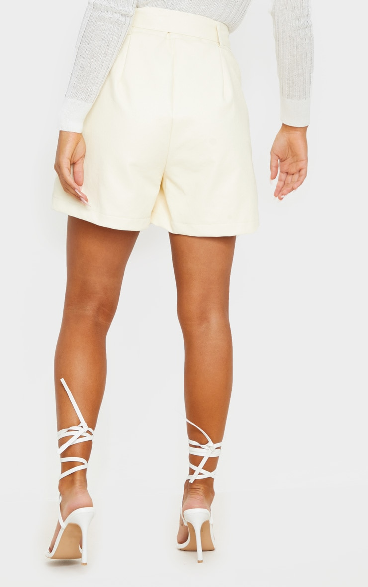 Cream Oversized Belted Faux Leather Tailored Shorts 3
