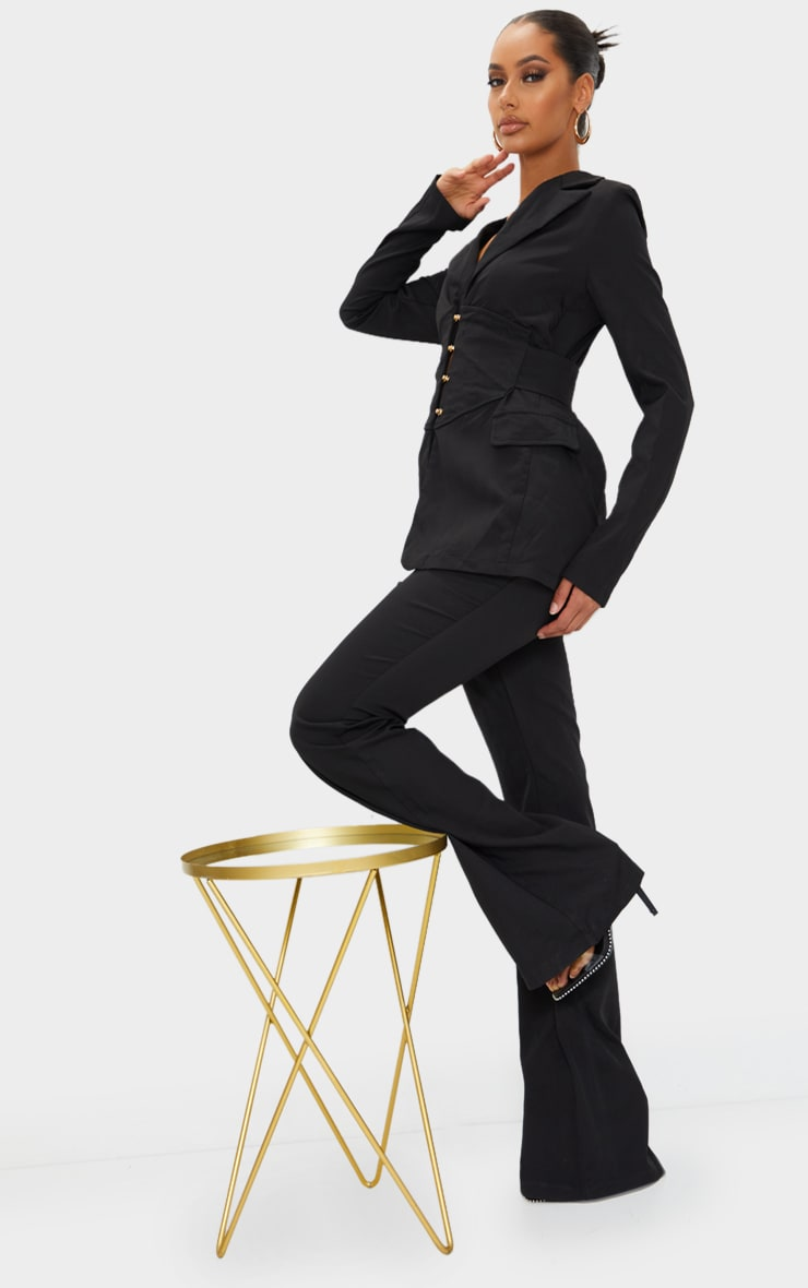Black Pin Detail Tailored Long Sleeve Jumpsuit 3