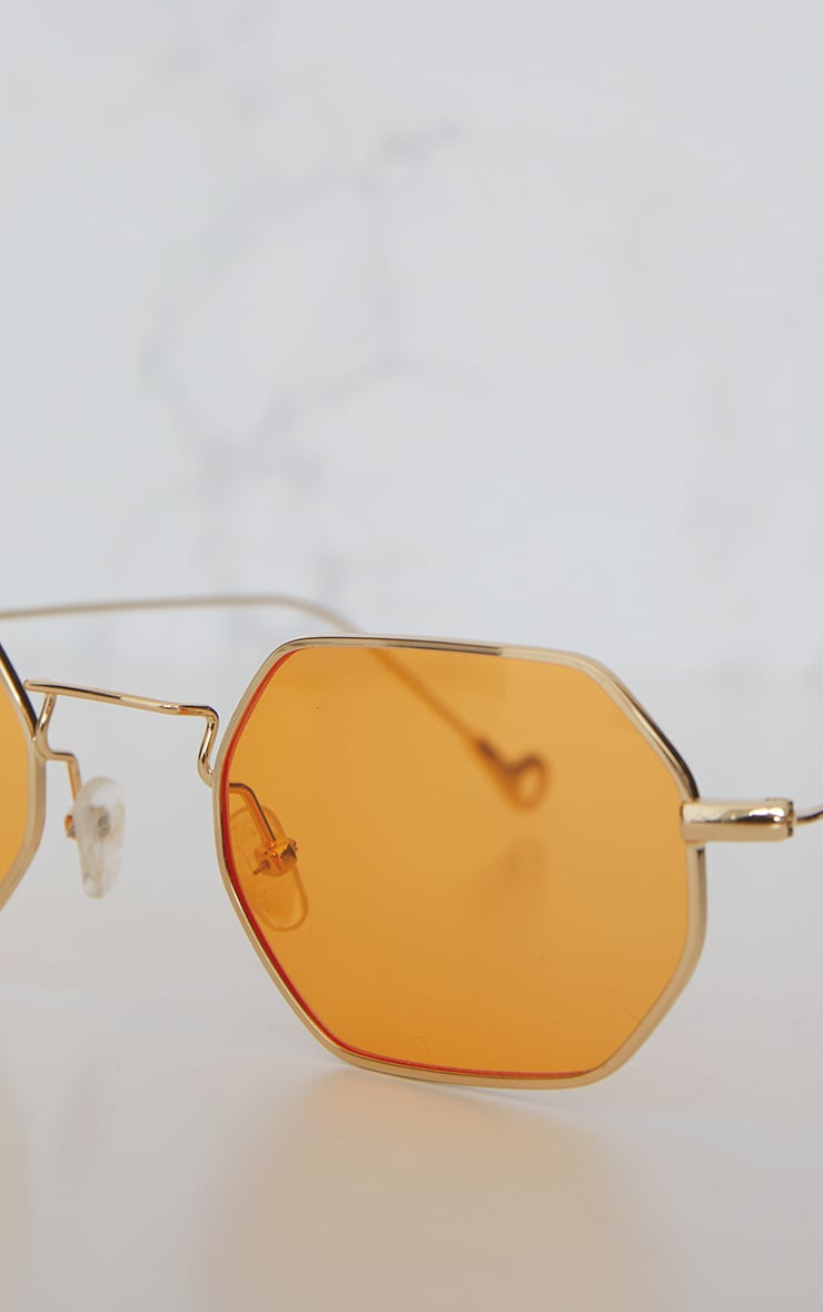 Orange Hexagon Retro Sunglasses 7