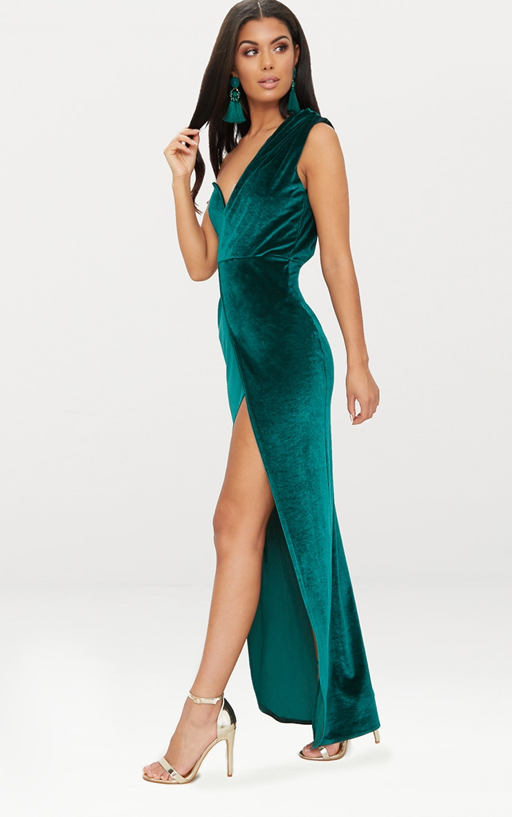 Emerald Green Velvet Wrap One Shoulder Extreme Split Maxi Dress  4