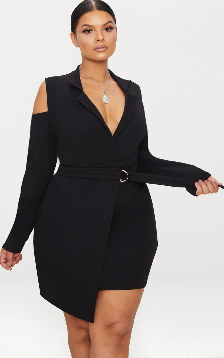 Plus Black Cold Shoulder Ring Detail Blazer Dress 1