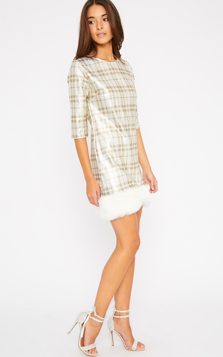 Kyla Gold Checked Fur Trim Dress 3