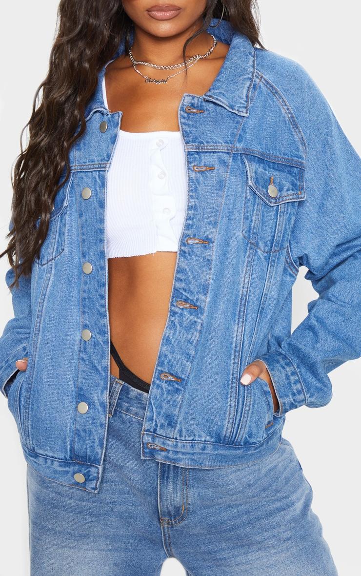 Mid Wash Drop Shoulder Oversized Denim Jacket 5