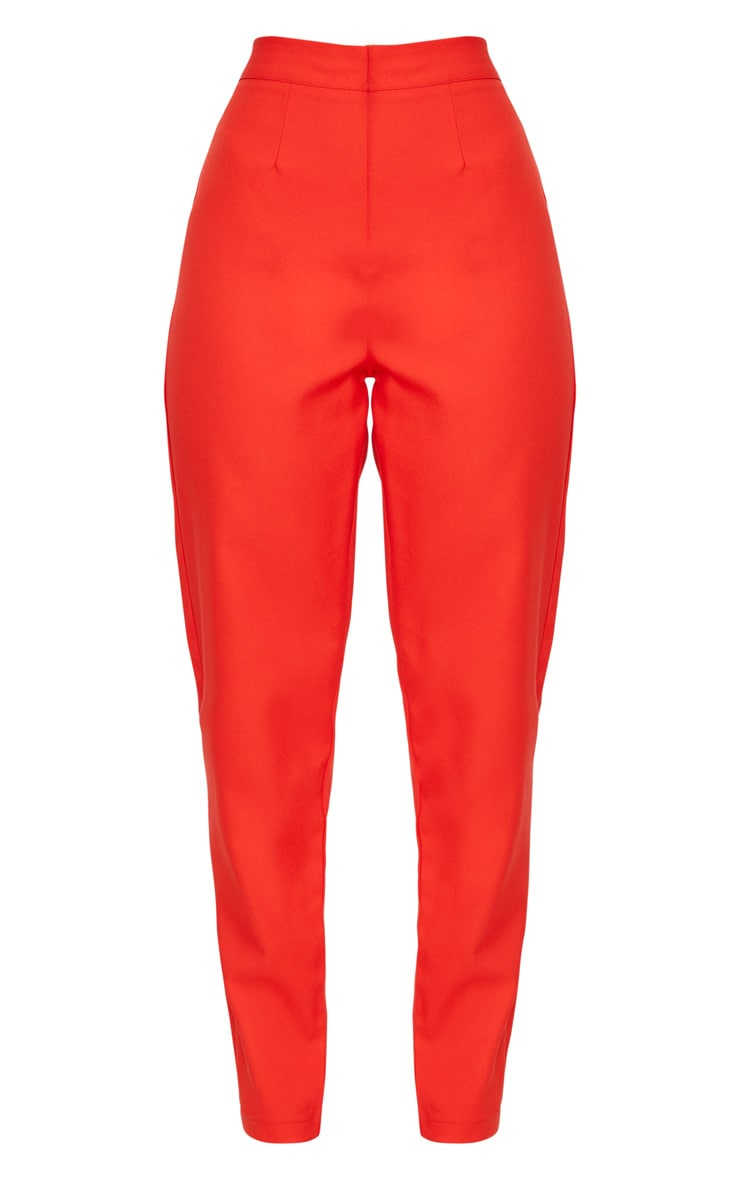 pantalon cintr droit rouge pantalons prettylittlething fr. Black Bedroom Furniture Sets. Home Design Ideas