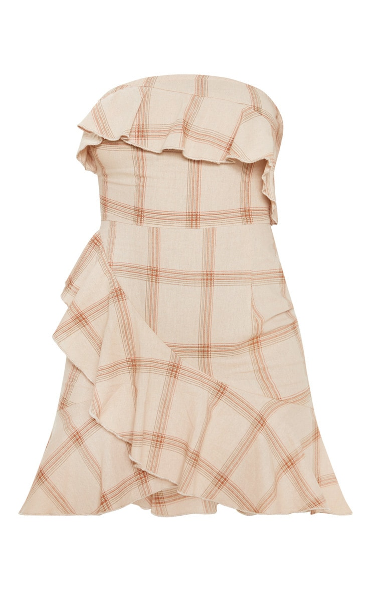 Beige Check Woven Frill Hem Bodycon Dress 3