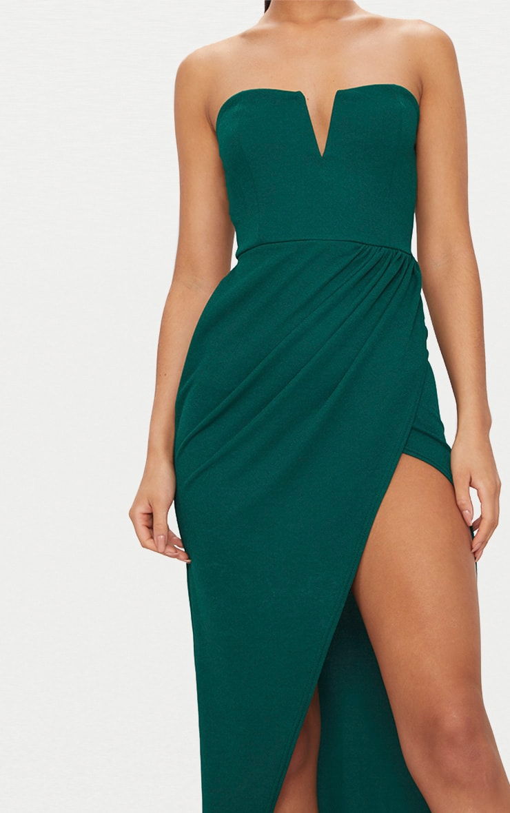 Emerald Green Bandeau V Bar Wrap Detail Maxi Dress 5