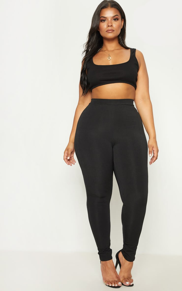 Plus Black Slinky High Waisted Leggings 1