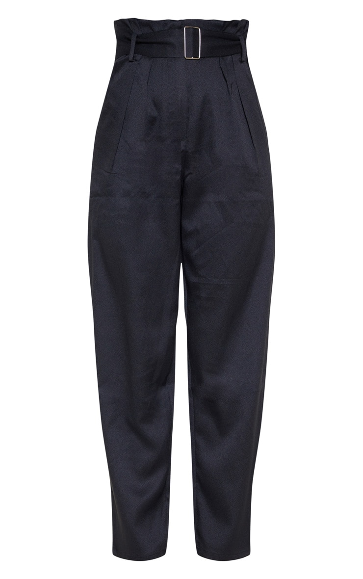 Black Paperbag Belted Waist Tapered  Leg Pants 3
