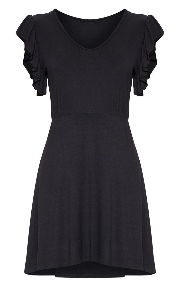 Black Frill Sleeve Shift Dress 3