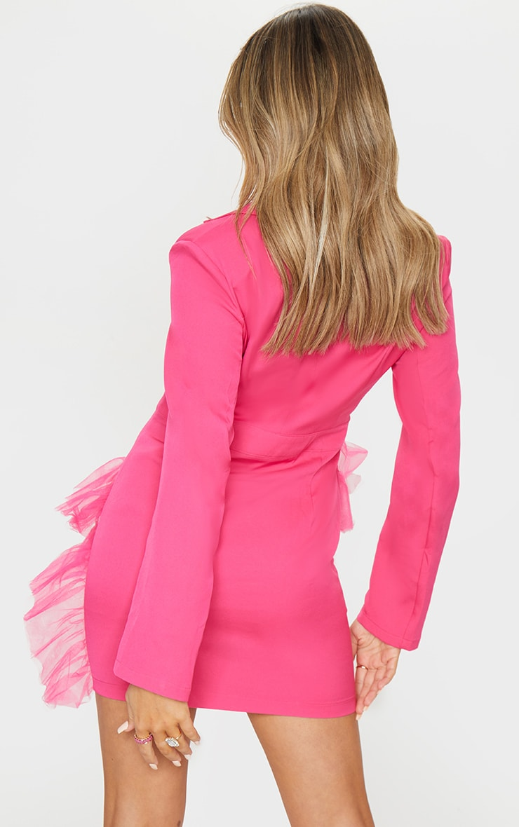 Hot Pink Long Sleeve Mesh Frill Blazer Style Bodycon Dress 2
