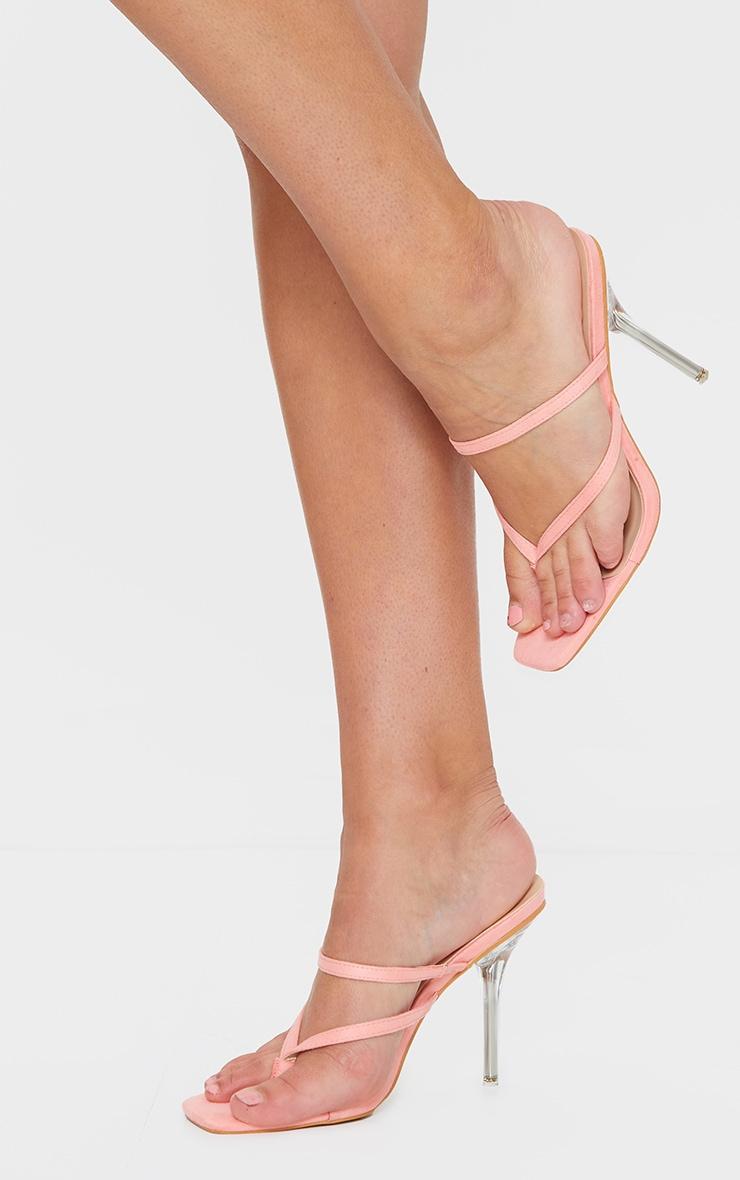 Pink Toe Thong Strappy Pin Heel Mules 1