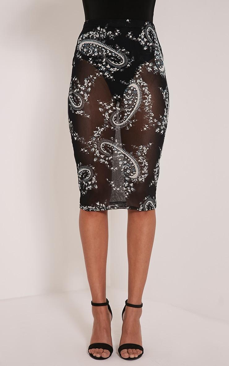 Pheobe Black Paisley Mesh Midi Skirt 6