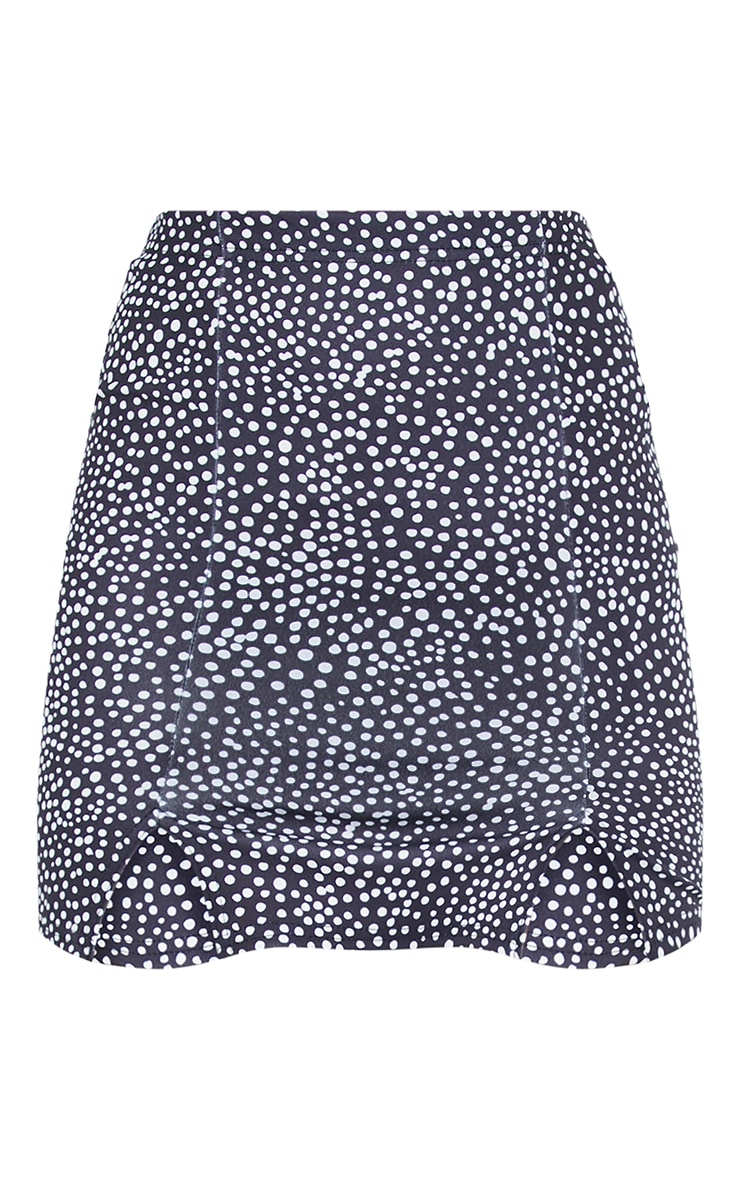 Black Dalmatian Double Split Hem Mini Skirt 6