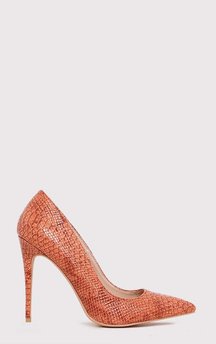 Ellia Deep Peach Faux Snake Skin Pointed Heels 1