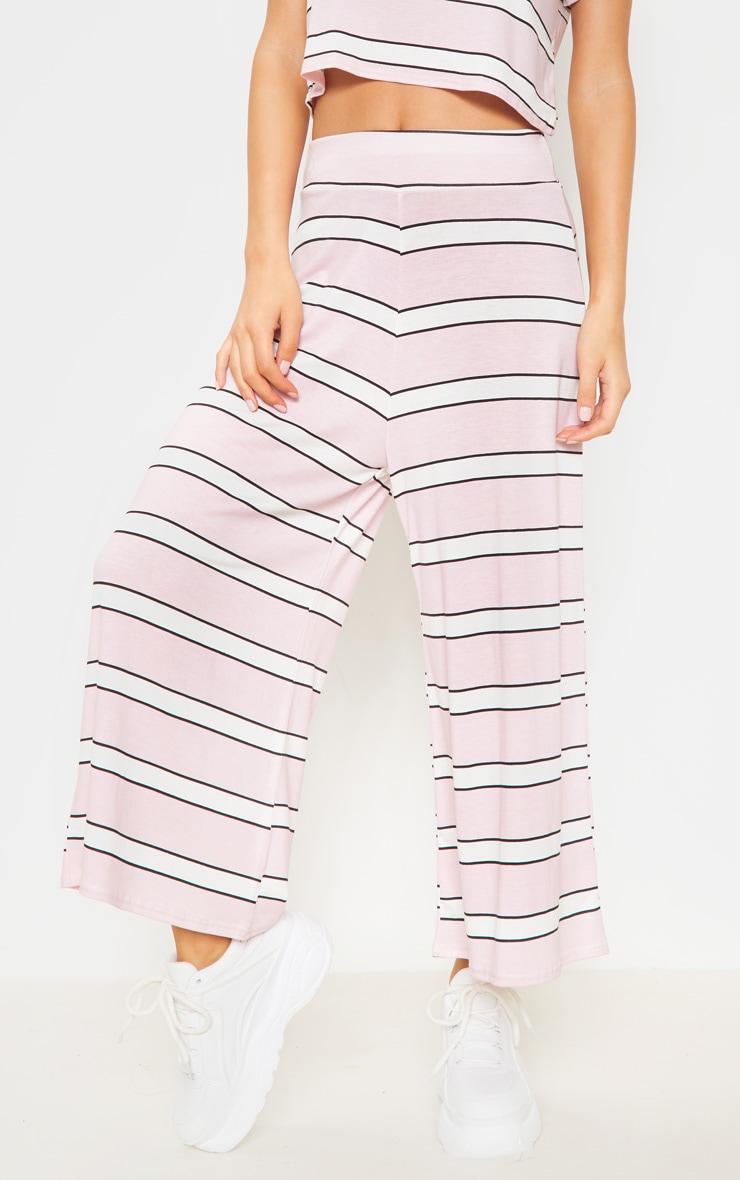 Baby Pink Stripe Printed Basic Culotte 2