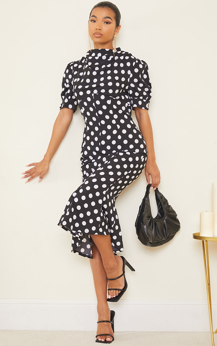Black Polka Dot Puff Sleeve Draped Neck Midi Dress 1
