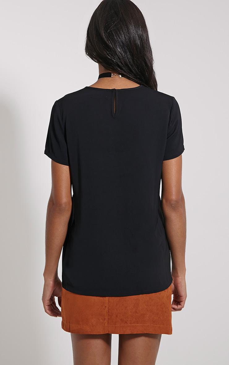 Bexley Black Fishnet Panel T-Shirt 2
