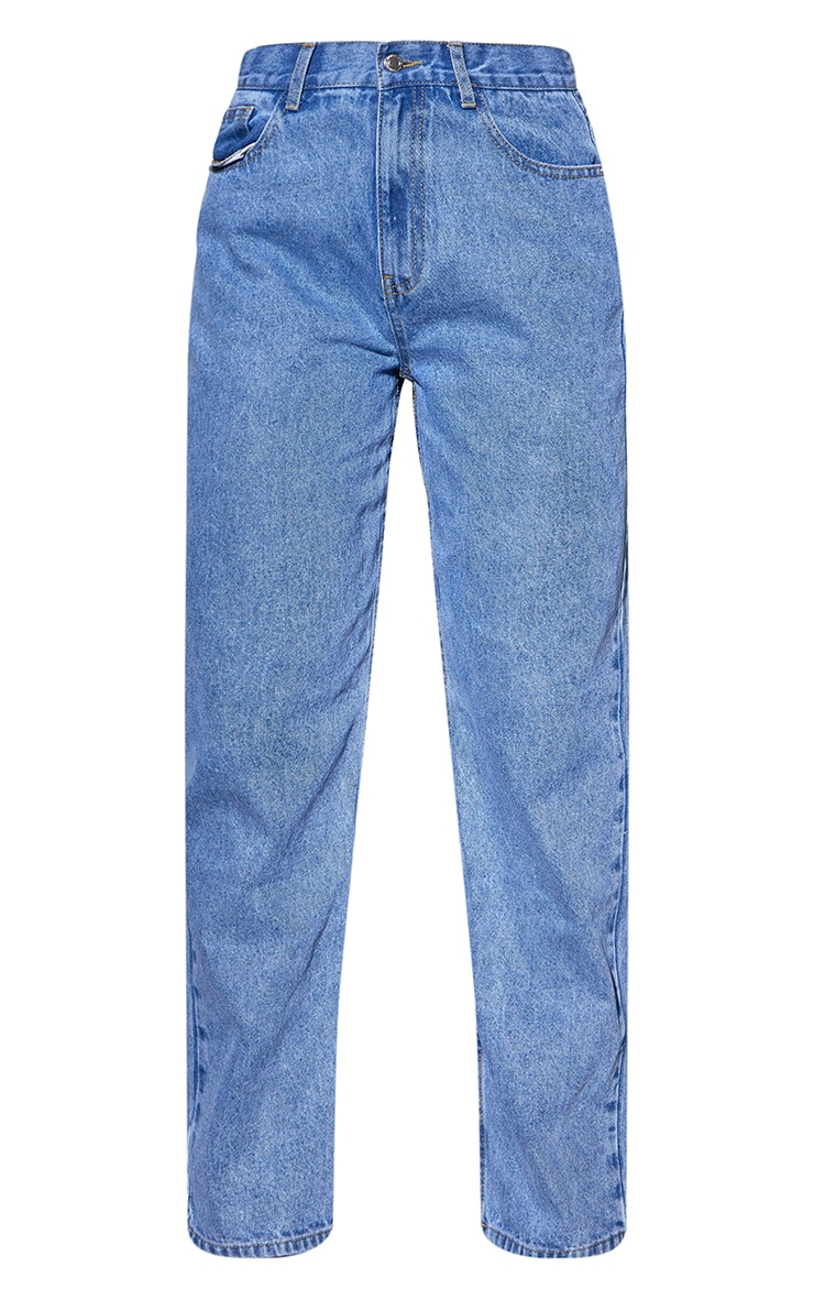 Recycled Light Blue Wash Basic Low Rise Baggy Boyfriend Jeans 5