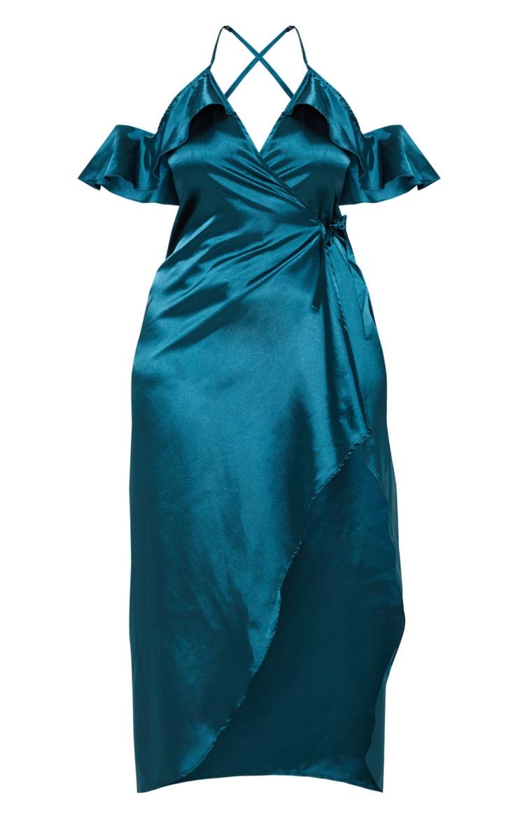 Plus Teal Satin Frill Detail Wrap Maxi Dress 3