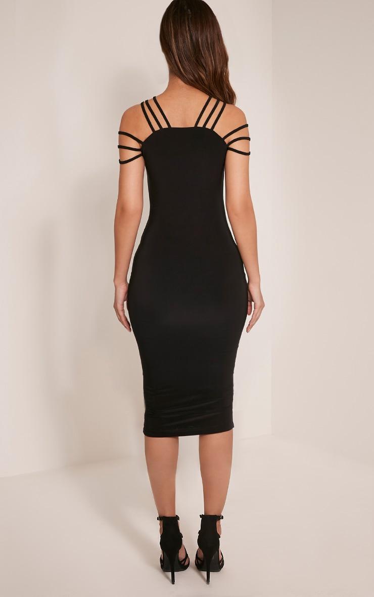 Kellia Black Multi Strap Detail Midi Dress 2