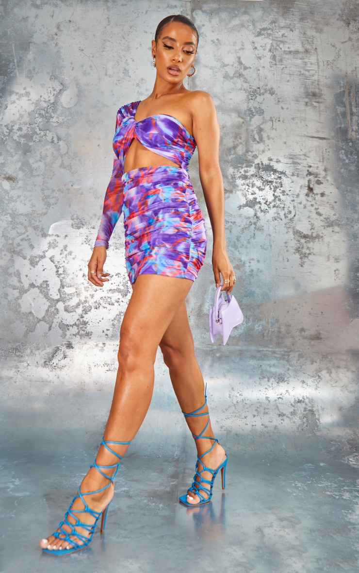 Purple Abstract Print Mesh One Shoulder Detail Bodycon Dress 3