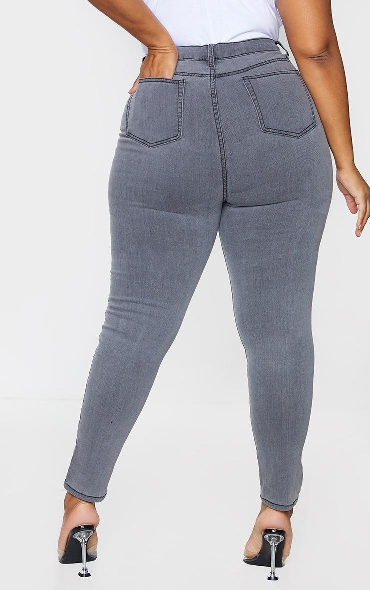 PRETTYLITTLETHING Plus Grey 5 Pocket Skinny Jeans 3
